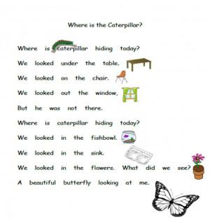 Caterpillar poems for kindergarten