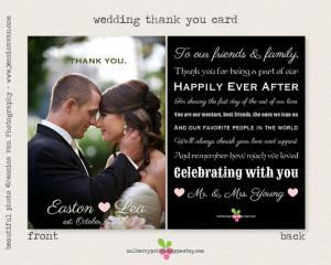 Magazine Style Wedding Photo Thank You Card - Printable or Printed ...