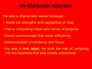 Charismatic Leadership Quotes His Charismatic leadership