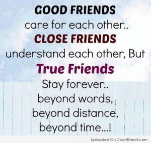 Best Friend Quote: Good friends care for each other. Close...