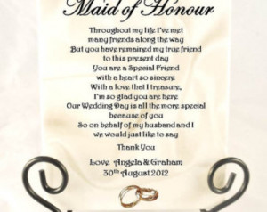 ... Poem Gift - Maid of Honour/Chief Bridesmaid. Complete with Stand