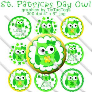 St Patricks Day Owl Sayings Bottle Cap Images Set 1 Inch Circle Digita