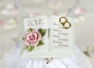 Love Verse Bible With Pearl Heart Wedding Cake Toppers