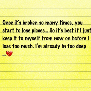 Oh you know... Just broken pieces here n there
