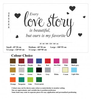 Details about Every Love Story Wall Quote Stickers Wall Decals Words ...