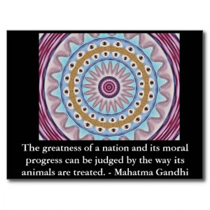 animal rights quote - Mahatma Gandhi Postcard