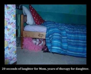 scary clown under bed, funny pictures