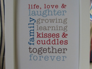 Framed 'Life Love & Laughter' Quote Wall Art | Felt