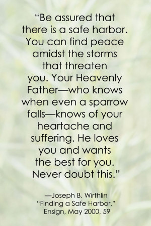 ... Quote Inspiration, Peace Lds, Lds Quote Joseph Wirthlin, Peace Quote
