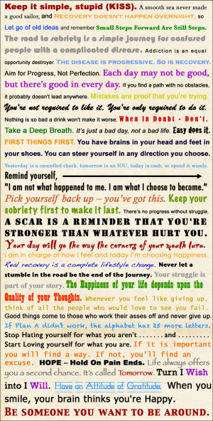 42 Recovery Slogans Assembled Into a Word Collage