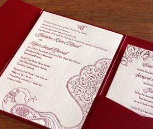 indian letterpress wedding invitation