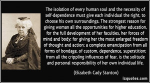 The isolation of every human soul and the necessity of self-dependence ...