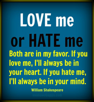 Love me or hate me , but spare me your indifference. Libbie Fudim ...