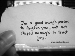 ... Good Enough Person to forgive you, But not stupid enough to trust you