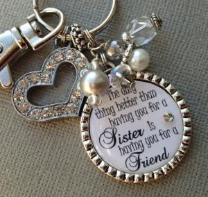 ... quote, birthday gift, maid of honor, rhinestone heart, thank you gift