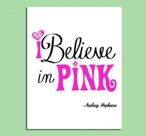Printable Girl Room Wall Art Quote - Audrey Hepburn Quote - I Believe ...