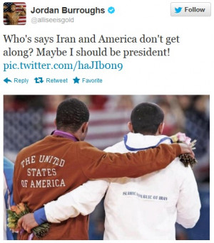... Jordan Burroughs and Saeed Sadegh Goudarizi, after the American