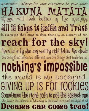 disney, disney quotes, dreams, faith, haukuna matata, hope, life ...