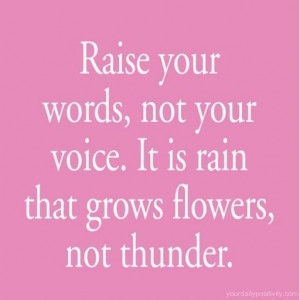 Quote #21 – Raise your words, not your voice. It is rain that grows ...