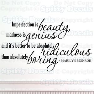 IMPERFECTION-IS-BEAUTY-MARILYN-MONROE-Quote-Vinyl-Wall-Decal-Sticker ...