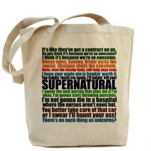 ... > Driver Picks The Music Bags & Totes > Supernatural Quotes Tote Bag