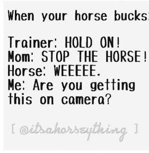 When the Horse Starts to buck. or it would go more like: trainer: Sit ...