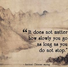 Chinese Proverb It does not matter how slowly you go as long as you do ...