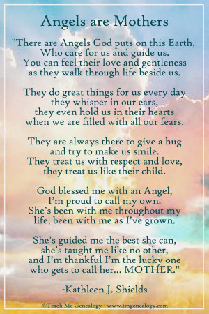 Angels Are Mothers Poem By Kathleen J. Shields