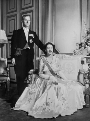 Princess Elizabeth II of England and Philip, the Duke of Edinburgh ...