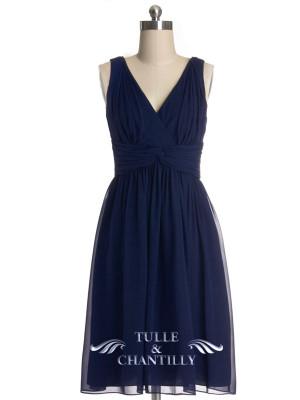 navy blue chiffon bridesmaid dresses