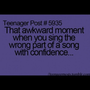 That awkward moment when you sing the wrong part of a song with ...