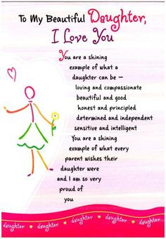 To My Beautiful Daughter, I Love You (Thoughts Of Life) More