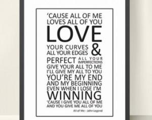 All Of Me Lyrics Print wall art - all of me