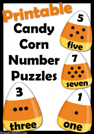 print and cut into 3 pieces! These printable candy corn number puzzles ...