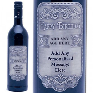 Personalised Happy Birthday Italian Merlot with Pewter Label from ...