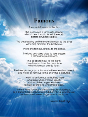 AP English Throwback Poem, Naomi Shihab Nye - Famous