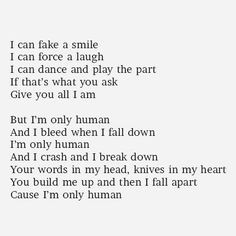 ... knives in my heart i m only human more truths quotes christina perry