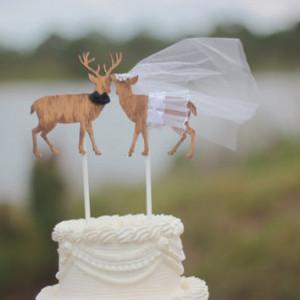 Deer Buck Doe Heart Cake...