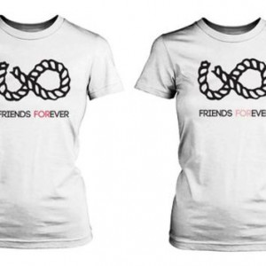 Infinity Sign Best Friend Shirts - White Cotton Matching BFF T-shirts