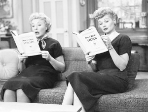 Lucille Ball and Vivian Vance read.