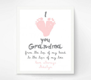 ... Grandma - I Love you Grandma Baby footprint Art - Gift for Grandmother