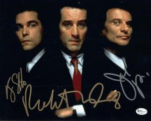Goodfellas Robert De Niro Joe Pesci And Ray Liotta Triple Autographed ...