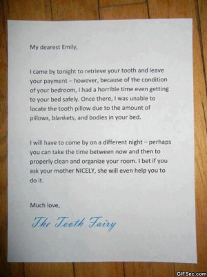 Funny Pictures – Letter from the Tooth Fairy - Funny Pictures, MEME ...