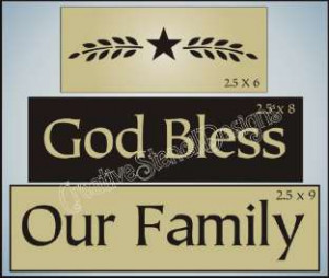 New Stencil Trio God Bless Our Family With Willow Wheat Star