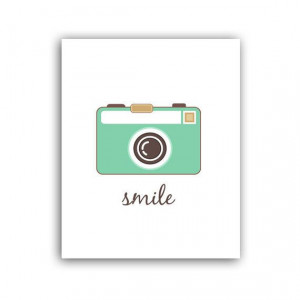 Camera Art Print - Smile Camera Quote Modern Typography - Funny Print ...