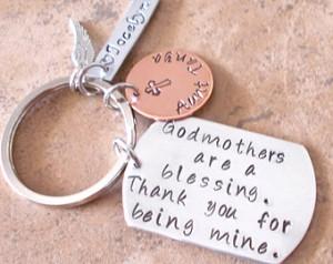 Handstamped Godmother/Godfather key chain/Godparent gift//Aunt/Uncle ...