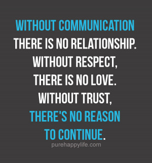 Relationship Quote: Without communication there is no relationship ...