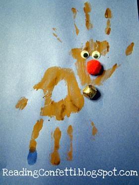 Handprint rudolph reindeer, preschoolchristmas crafts