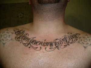 tattoo of latin text meaning find a way or make one latin text tattoo ...