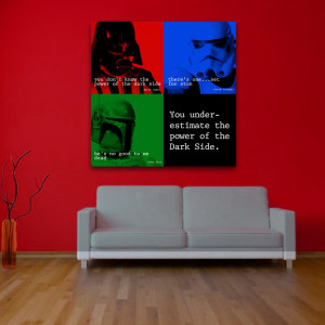 star wars dark side quote square wall art